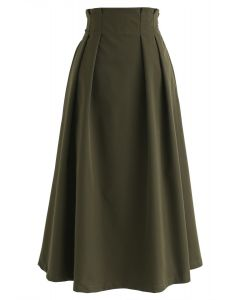 Pleated Elastic Waist A-Line Midi Skirt in Army Green