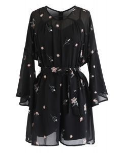 Floret Embroidered Bell Sleeves Chiffon Playsuit in Black