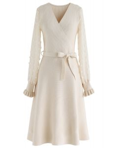 There You Go Wrap Knit Dress in Cream