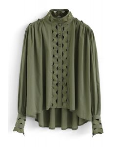 Button Front Wave Shaped Hi-Lo Shirt in Army Green