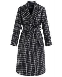 Glittery Double-Breasted Longline Tweed Coat