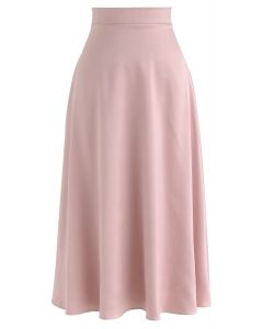 Satin A-Line Midi Skirt in Blush Pink