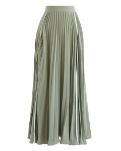 Simple Line Trim Pleated Skirt in Green