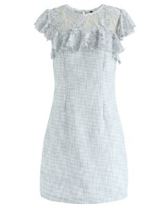 Lace Trim Ruffle Textured Dress in Light Blue