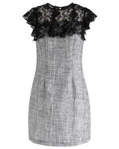 Lace Trim Ruffle Textured Dress in Black