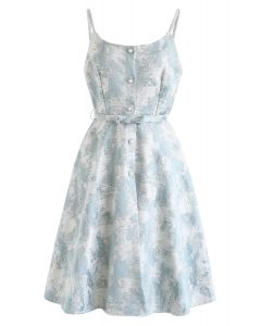 Jacquarded Button Down Cami Dress in Light Blue