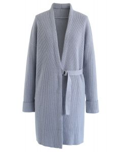 Front Belted Longline Knit Cardigan in Baby Blue