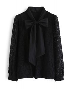 Floral Lace Bow Neck Shirt in Black