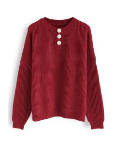 Buttoned Neck Oversize Sweater in Red