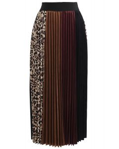 Leopard Detail Pleated Velvet Midi Skirt