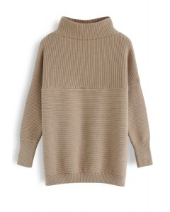 Cozy Ribbed Turtleneck Sweater in Tan