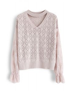 Delicacy Embroidery Sleeves Hollow Out Knit Sweater in Pink