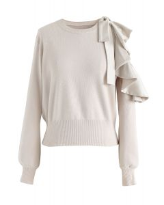 Ruffle Cut Out Sleeves Knit Top in Cream