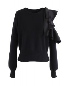 Ruffle Cut Out Sleeves Knit Top in Black