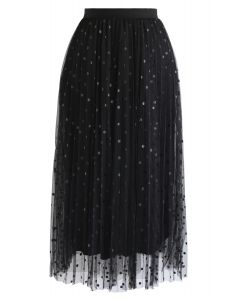 Polka Dot Double-Layered Mesh Tulle Skirt in Black