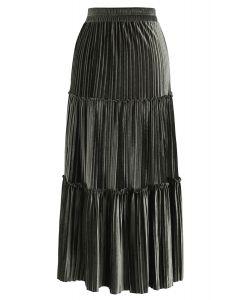 Full Pleated A-Line Velvet Skirt in Army Green