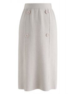 Button Trim Knit Midi Skirt in Cream