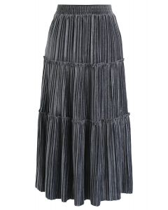 Full Pleated A-Line Velvet Skirt in Grey
