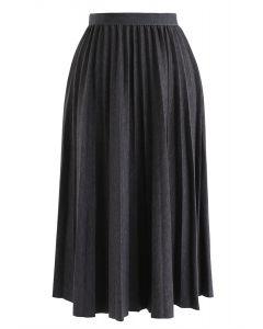 Full Pleated A-Line Midi Skirt in Smoke