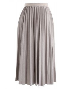 Full Pleated A-Line Midi Skirt in Nude Pink