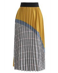 Plaid Splicing Pleated Midi Skirt in Mustard