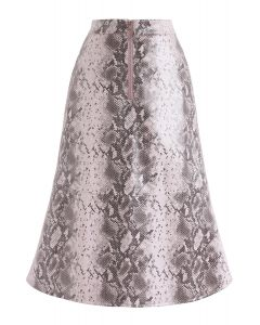Snake Printed Faux Leather Midi Skirt in Pink