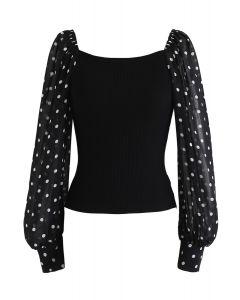 Polka Dots Bubble-Sleeve Knit Top in Black