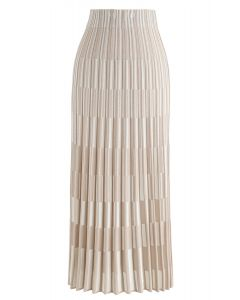 Color Blocked Knit Maxi Skirt in Nude Pink