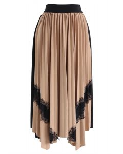 Lace Trims Asymmetric Pleated Midi Skirt in Tan