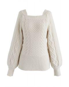 Square Neck Soft Knit Sweater in Cream