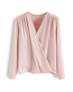Button Decorated Wrap Chiffon Top in Pink