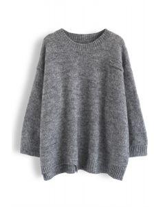 Hi-Lo Hem Oversize Knit Sweater in Grey