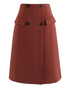 Button Decorated Flap Pockets Skirt in Rust Red