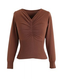 Front Ruched Knit Top in Caramel