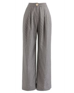 Houndstooth High-Waisted Wide-Leg Pants