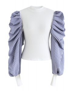 Dramatic Bubble-Sleeves Knit Top in Stripe
