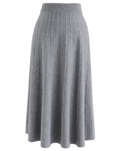 Striped Knit A-Line Midi Skirt in Grey