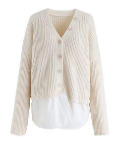 V-Neck Ribbed Spliced Knit Cardigan in Cream