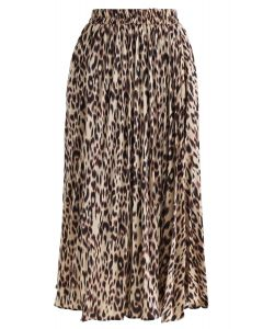 Leopard Printed Pleated Midi Skirt