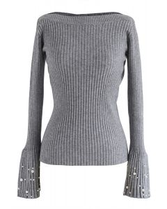 Oh My Pearls Ribbed Bell Sleeves Sweater in Grey