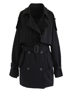 Double-Breasted Belted Pockets Coat in Black