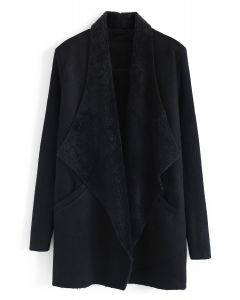 Open Front Faux Fur Suede Drape Coat in Black