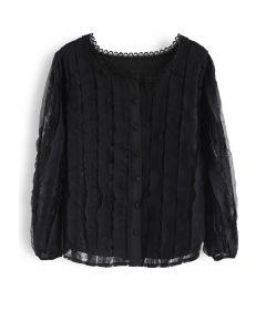 Square Neck Lace Button Top in Black