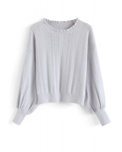 Eyelet Trim Frilling Neck Knit Sweater in Light Grey