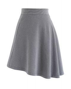 Houndstooth Asymmetric A-Line Skirt in Smoke