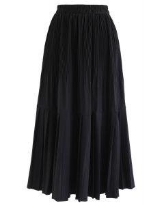Pleated Hem A-Line Midi Skirt in Black