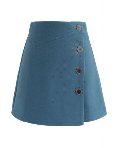 Basic Texture Button Trim Mini Skirt in Teal