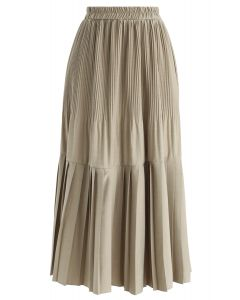 Pleated Hem A-Line Midi Skirt in Sand