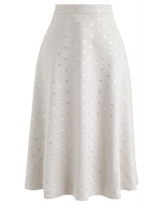 Shiny Polka Dots Faux Suede Midi Skirt in Ivory