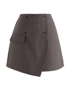 Button Trim Flap Mini Skirt in Brown
